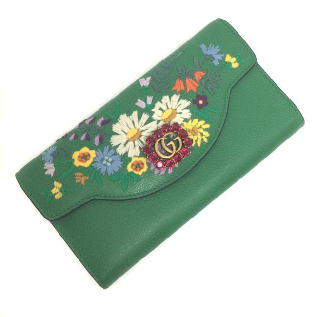 Item - Green / Multi-color / Red Color Long Marmont Flower Embroidery Gg Leather Ladies Wallet