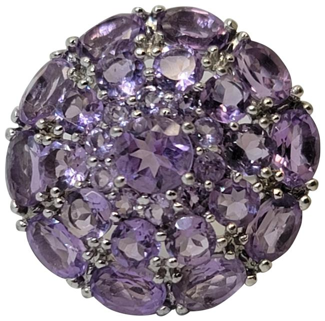 Item - Purple Cluster 10cttw Arabesque Oval and Round Amethyst Size 7.5 Ring