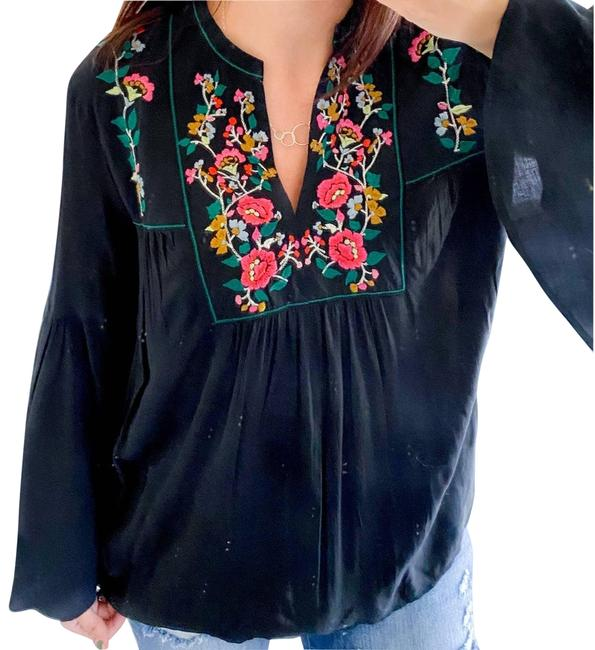Item - Black Bell Sleeve Floral Embroidered Peasant Blouse Size 4 (S)