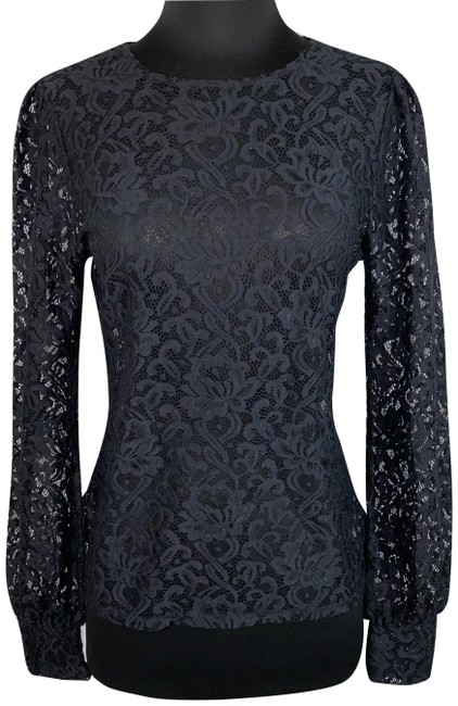 Item - Black S Juliana Lace See Thru Long Sleeve Nylon Blend Blouse Size 4 (S)