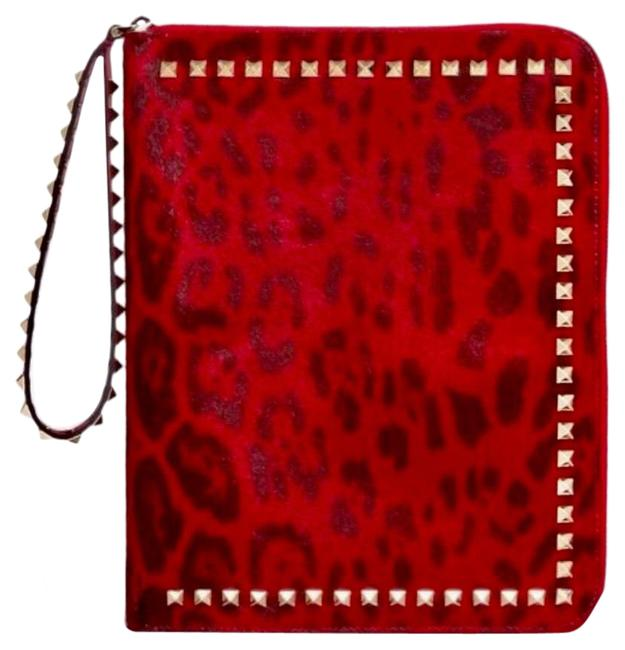 Item - Clutch Leopard Print Leather Rockstud Ipad Bag/Wristlet Handbag. Red Black Calf Hair Wristlet
