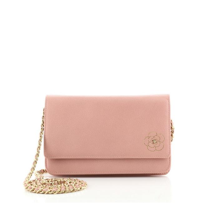Item - Wallet on Chain Camellia Pink Leather Cross Body Bag