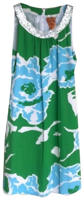 Item - Blue/Green/White 33071450 Mid-length Short Casual Dress Size 4 (S)