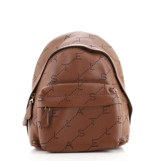 Item - Logo Perforated Mini Brown Faux Leather Backpack