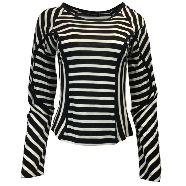 Item - Black & White Striped Long Sleeved Cotton Tee Shirt Blouse Size 6 (S)