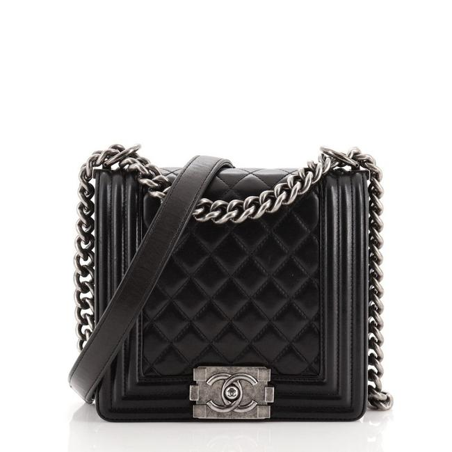 Item - Classic Flap Boy Square Quilted Lambskin Small Black Leather Cross Body Bag