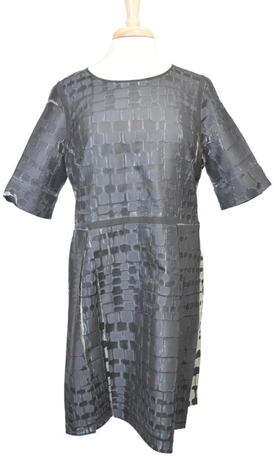 Item - Charcoal & Silver Pleated Mid-length Cocktail Dress Size 12 (L)