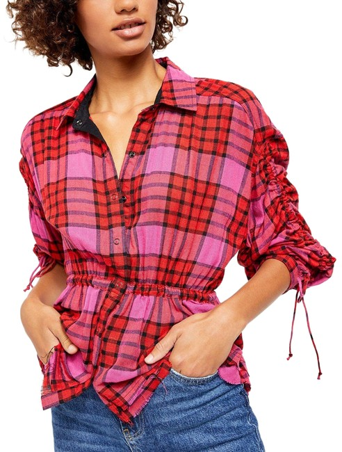 Item - Red Combo Pacific Dawn Plaid Shirt Button-down Top Size 2 (XS)