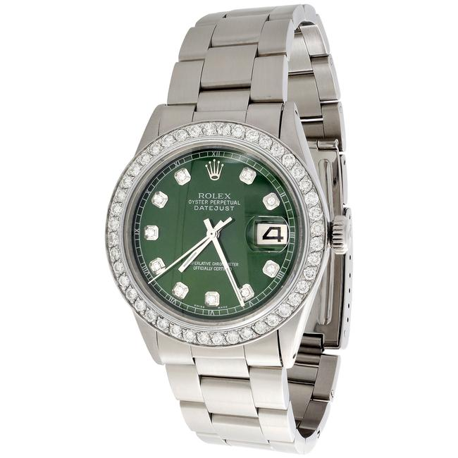 Item - Ss / Green Diamond Marker Dial Mens 36mm Datejust Ref # 1601 Oyster Band Ct. Watch