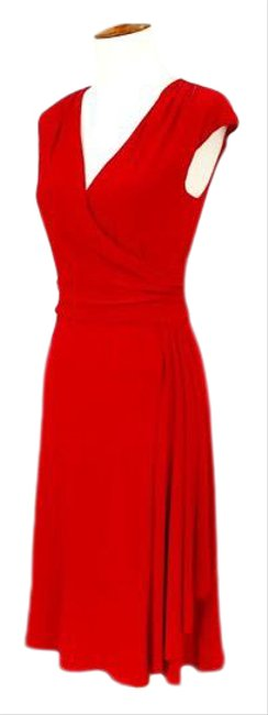 Item - Red Sleeveless Faux Mid-length Work/Office Dress Size 4 (S)