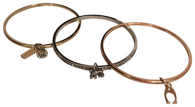 Item - Rose Gold Silver Gold Signature Bangles Set 3 with Charms Crystals Bracelet