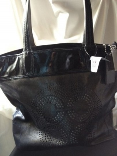 Coach Tote in Silver and Black
