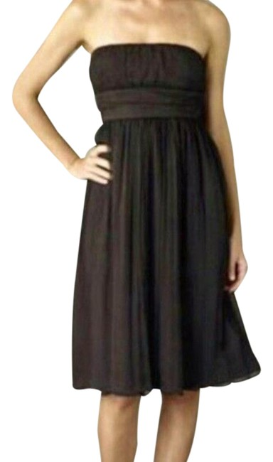 Item - Brown Special Occasion Silk Strapless Short Formal Dress Size 14 (L)