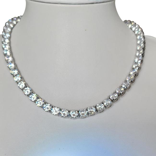 """Item - White and Silver 110 Carat Total Weight Round Cz Tennis Rhodium Plate 18"""" Necklace"""