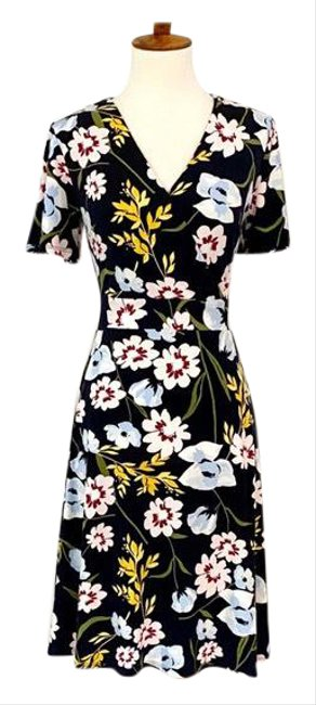 Item - Navy Factory Flutter Sleeve Floral Mid-length Work/Office Dress Size 2 (XS)