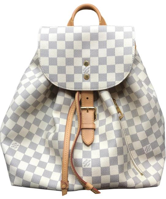 Item - Sperone Damier Azur Beige Canvas Leather Backpack