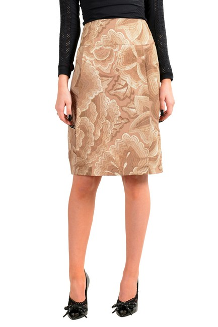 Item - Brown/Beige Women's Floral Print Silk A-line Skirt Size 12 (L, 32, 33)