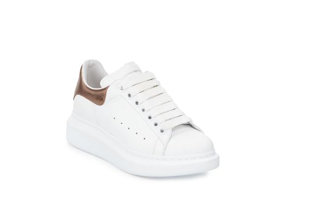 Item - White Rose Gold Leather with Metallic Heel Counter Sneakers Size EU 37.5 (Approx. US 7.5) Regular (M, B)