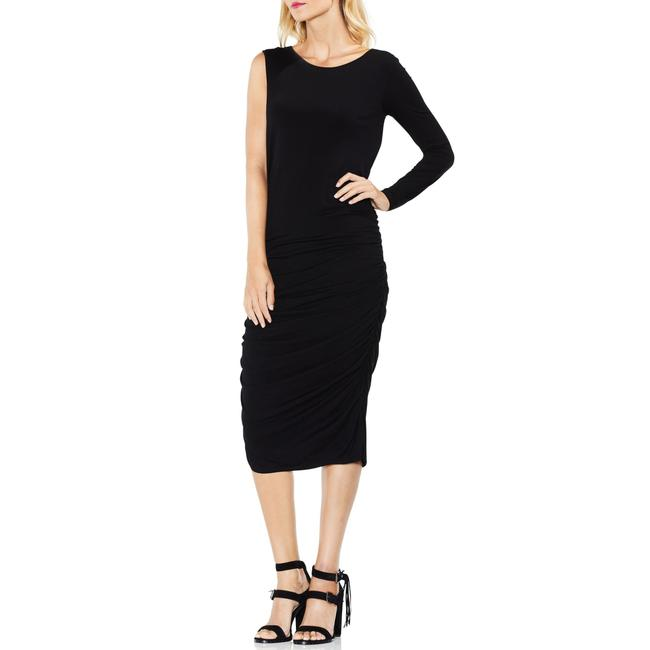 Item - Black One Sleeve Ruched Body-con Mid-length Night Out Dress Size 14 (L)