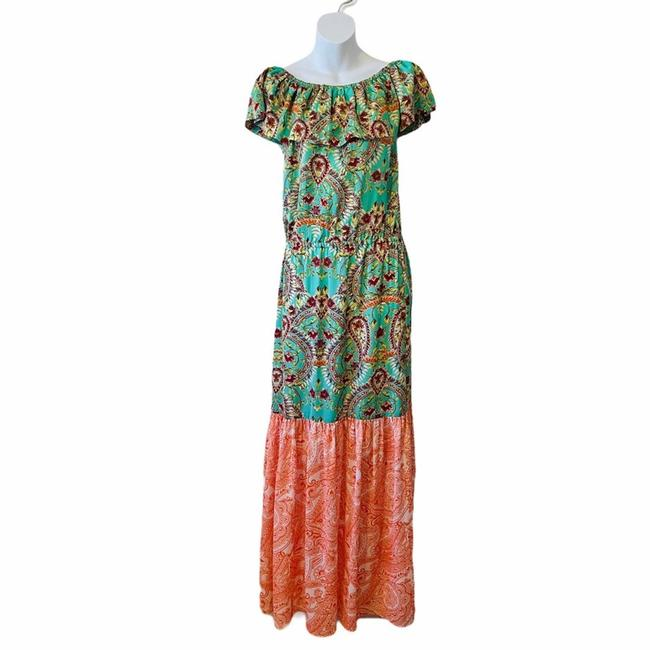 Item - Green Off The Shoulder Paisley Casual Maxi Dress Size 4 (S)