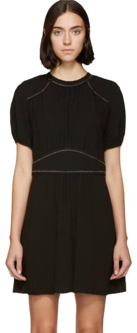 Item - Black Embroidered Crepe Wana Short Casual Dress Size 2 (XS)