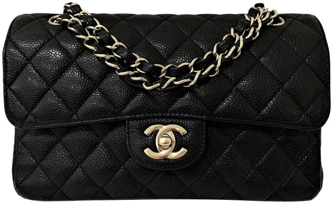 Item - Classic Flap Quilted Double Flap Chain Cc Logo Shw Small France Black Caviar Leather Shoulder Bag