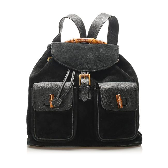 Item - Drawstring Bamboo Suede Black Leather Backpack