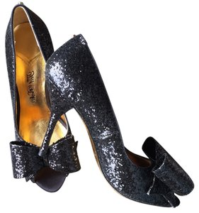 b4067778c Ted Baker Sparkle Glitter Peep Toe Bow Party Dressy Cocktail Stiletto Kate  Spade Valentino black Formal