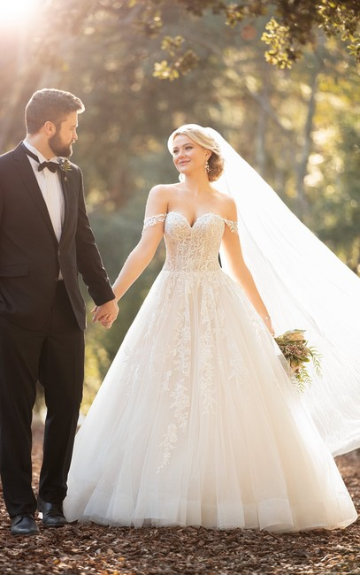 Item - Ivory Over Ivory Tulle and Lace #d2953 Gown Formal Wedding Dress Size 10 (M)