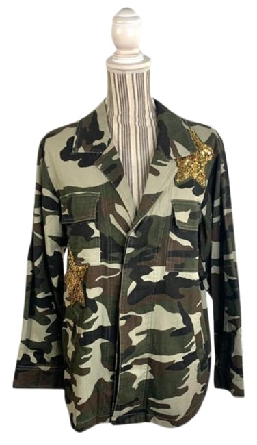 Item - Green Gold Glam Fighter Camouflage Print Jacket Size 8 (M)