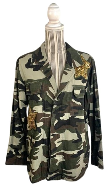 Item - Green Gold Glam Fighter Camouflage Print Jacket Size 12 (L)