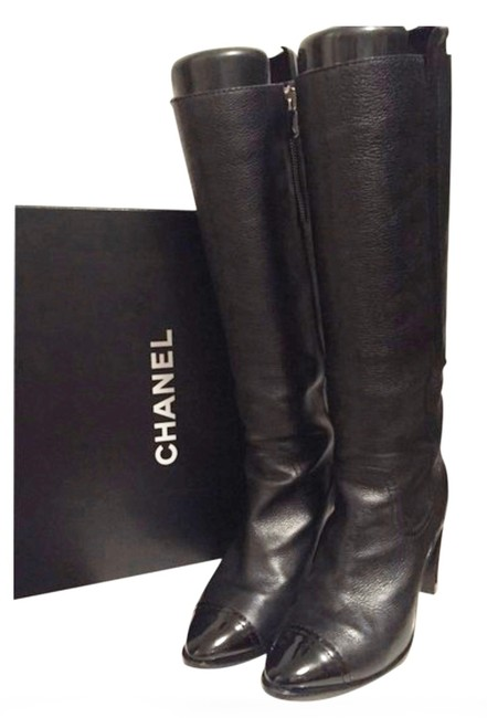 Item - Black Knee High Leather with Patent Toe Caps Boots/Booties Size EU 39.5 (Approx. US 9.5) Regular (M, B)