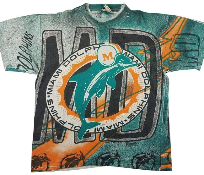 Item - Green Vtg 90s Miami Dolphins Mjts Tee Shirt Size 8 (M)