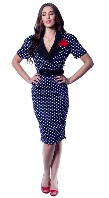 Item - Navy Laura Vintage Styled Secretary Polka Dot Pencil Wiggle Mid-length Work/Office Dress Size 2 (XS)