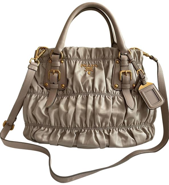 Item - Shopping Tote Bn1792 Pomice Tessuto Gaufre Taupe Nylon with Leather Trim Satchel