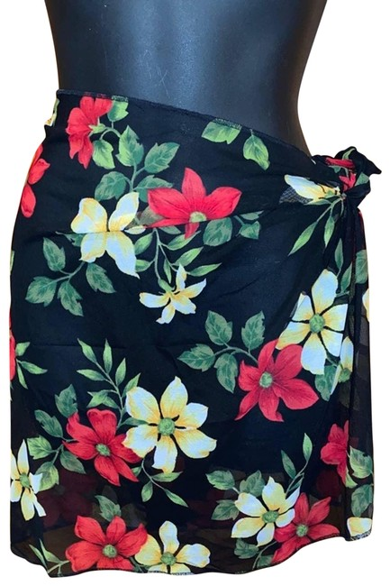 Item - Black Women's Floral Cover-up/Sarong Size OS (one size)