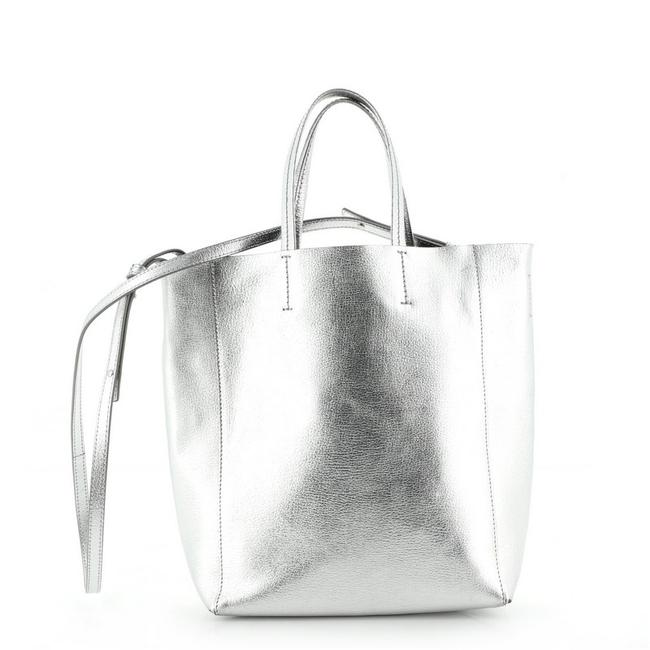 Item - Vertical Cabas Grained Small Silver Calfskin Tote