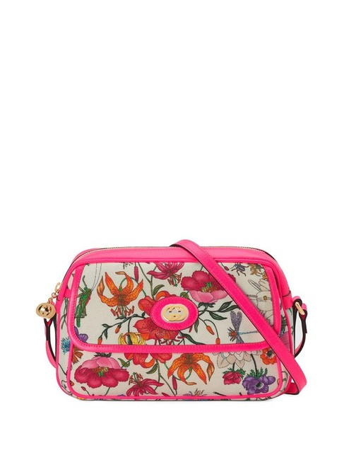 Item - Floral Pattern Small Multi-color Canvas Shoulder Bag