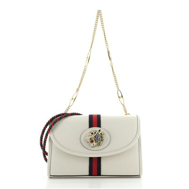 Item - Rajah Web Chain Small White Leather Shoulder Bag
