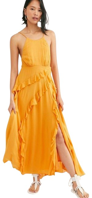 Item - Yellow Orange Beso Summer Smocked Tiered Elegant S Mid-length Casual Maxi Dress Size 6 (S)