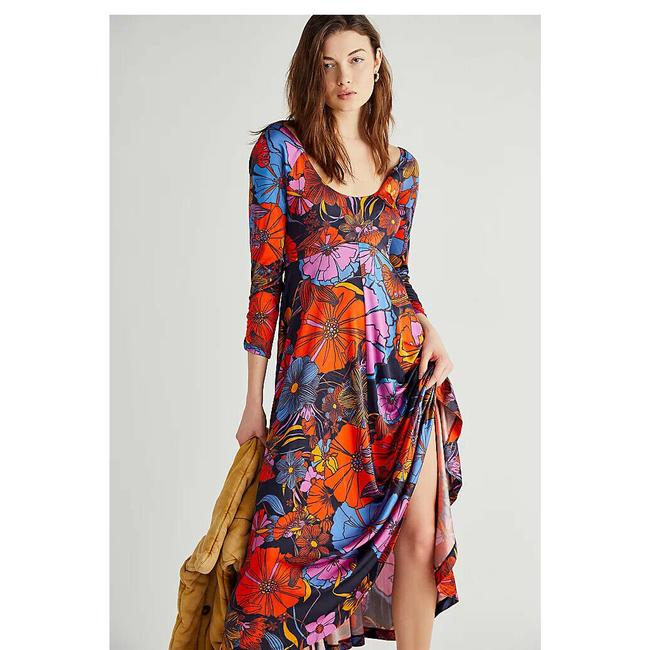 Item - Multi Color First Date Floral Printed Retro Lovely Sexy S Long Casual Maxi Dress Size 6 (S)