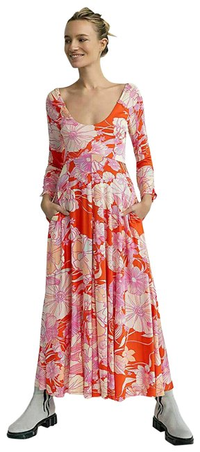 Item - Multi Color First Date Floral Printed Hawaiian Boho Sexy M Long Casual Maxi Dress Size 8 (M)