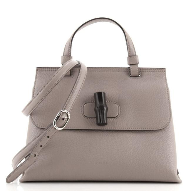 Item - Top Handle Vintage Convertible Bamboo Small Gray Leather Cross Body Bag