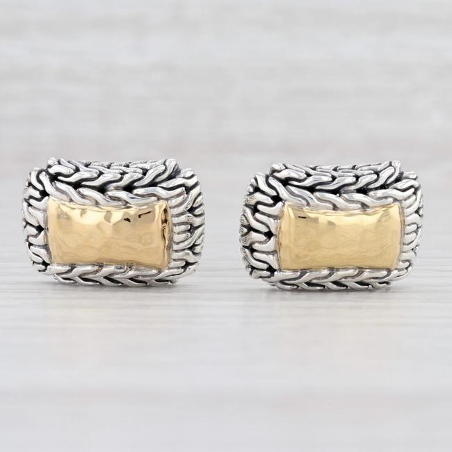 Item - Silver and Yellow Gold Sterling Men's Suit Accessories Cufflinks/Studs