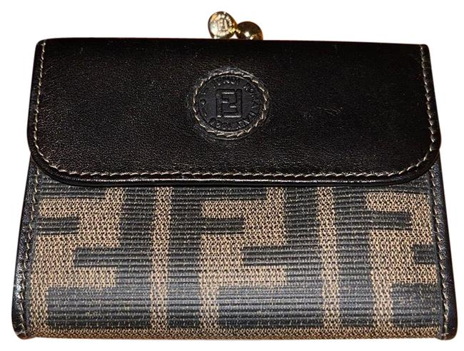 Item - Brown/Black Zucca Pattern Coinpurse Leather Wallet