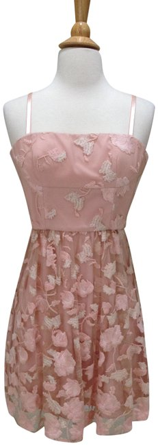 Item - Pink/ Cream Bcbg Lace Party with Removable Straps Short Cocktail Dress Size 0 (XS)