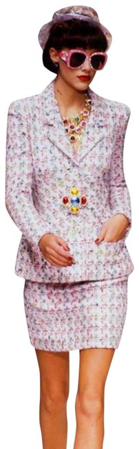 Item - Pink Iconic Vintage Spring 1995 Barbie Multicolor Fantasy Tweed 95p Jacket Skirt Suit Size 2 (XS)