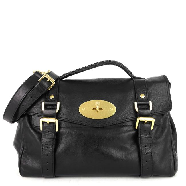 Item - Alexa Soft Black Buffalo Leather Satchel