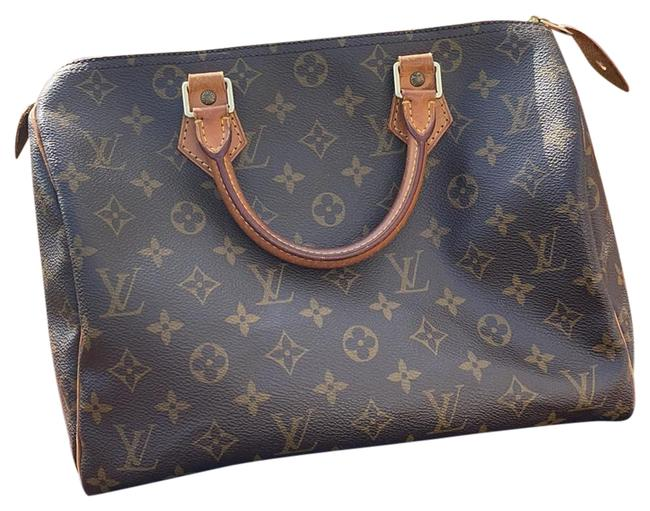Item - Speedy 30 Monogram Canvas Cowhide Leather Baguette