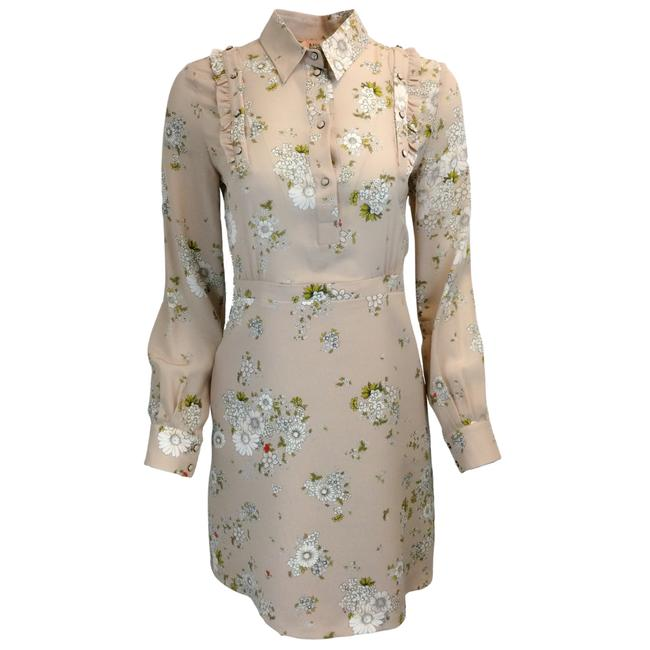 Item - Beige Floral Printed Silk Shirt Cocktail Dress Size 2 (XS)